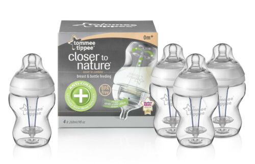 TOMMEE TIPPEE CLOSER TO NATURE ANTI COLIC PLUS 260ML 9OZ FEEDING BOTTLES 4 PACK in Baby, Baby Feeding, Bottles | eBay