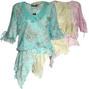 top asymmetrisch tunika bluse strand chiffon transparent paisley muster xs s m l ebay. Black Bedroom Furniture Sets. Home Design Ideas