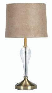 touch control desk bedside table lamp glass antique brass base beige. Black Bedroom Furniture Sets. Home Design Ideas