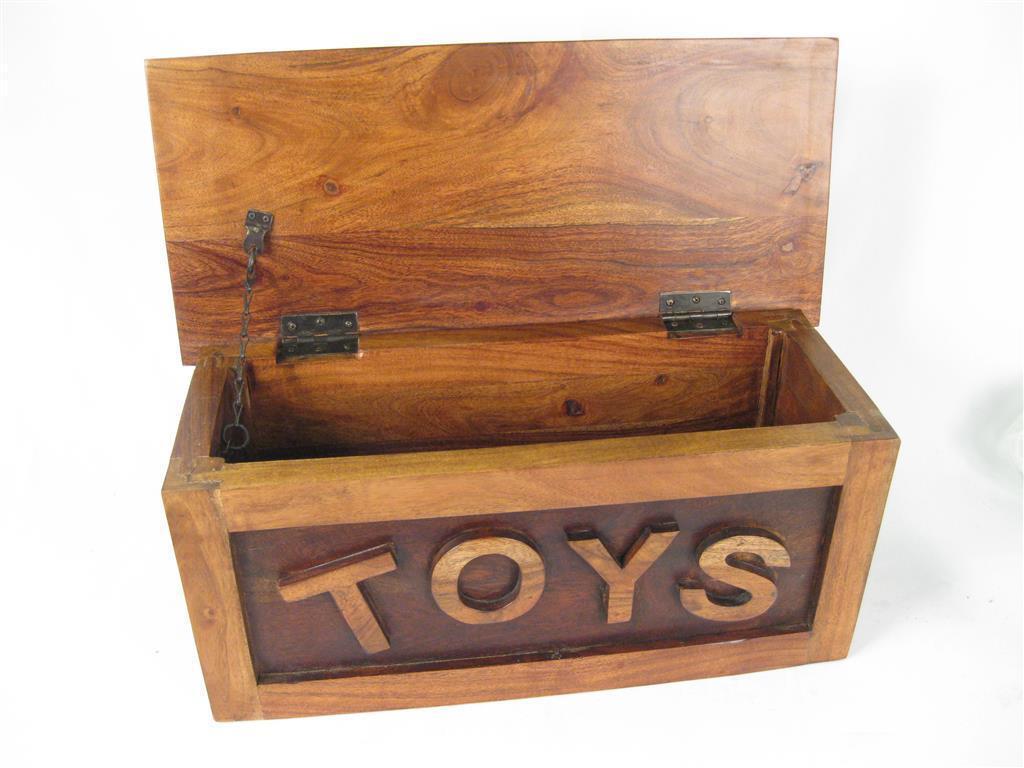 TOY BOX CHEST TRUNK 25 X 58CM GAME STORAGE SOLID ACACIA WOOD WARM ...