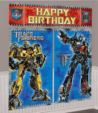 TRANSFORMERS Scene Setter HAPPY BIRTHDAY Party wall decor Optimus Bumblebee in Home & Garden, Home Decor, Decals, Stickers & Vinyl Art | eBay
