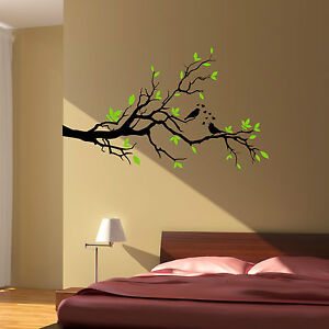 Tree branch love birds floral hearts wall art sticker decal 2