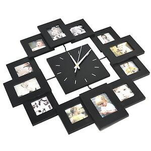 trixes 12 multi photo frame display wall clock