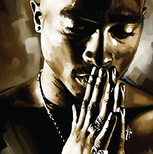 TUPAC 2pac hip hop rap Original Signed New print poster CANVAS POP ART PAINTING in Art, Direct from the Artist, Paintings | eBay