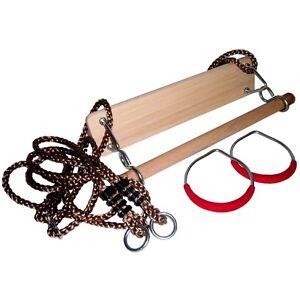 turnger te set schaukel trapez turnringe holztrapez ringe spielturm holz metall ebay. Black Bedroom Furniture Sets. Home Design Ideas