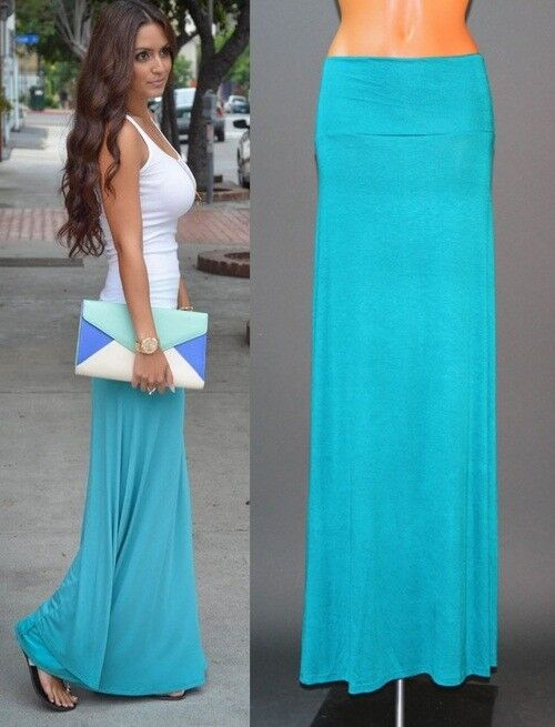 TURQUOISE FOLD OVER WAIST BANDED URBAN MINIMALIST KNIT LONG MAXI SKIRT S M L XL