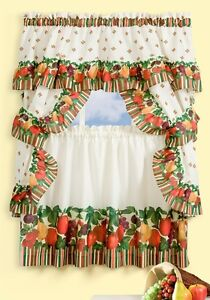 Classic Country Apple & Pear Kitchen Curtain Set from Collections Etc.