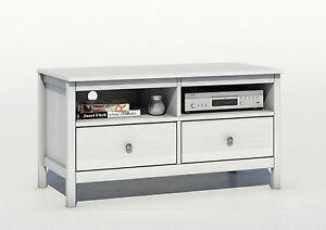tv bank lowbard massivholz kiefer wei ebay. Black Bedroom Furniture Sets. Home Design Ideas