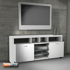 tv bank mediaschrank sideboard regal lowboard kommode ablage wei hochglanz. Black Bedroom Furniture Sets. Home Design Ideas