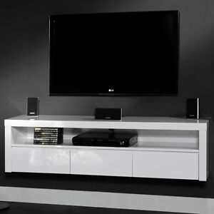 tv h ngeschrank sideboard 3 schubladen offenes fach wei hochglanz comp neu ebay. Black Bedroom Furniture Sets. Home Design Ideas