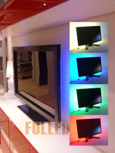 50 200cm tv led lcd hintergrun beleuchtung led leiste stripe band mit usb kabel ebay. Black Bedroom Furniture Sets. Home Design Ideas