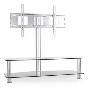 tv rack ablage glas fernsehtisch tv lowboard sideboard regal silber aluminium ebay. Black Bedroom Furniture Sets. Home Design Ideas