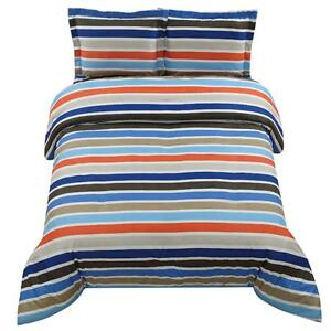 Twin boys teen blue orange stripe stripes comforter sham - Orange and blue comforter ...