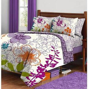 Twin girls teen white purple lime orange mod floral 5p - Orange and purple bedding ...