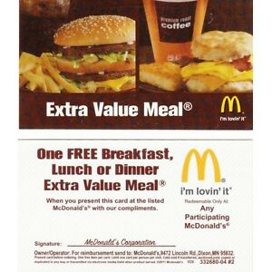 Details: Get a Free Medium Fries with $1 Purchase on Fridays with the APP. Details: Check out the extra value meal deals and save! Plan your meal before you go in for nutritional benefits - all details are available online. The coupon in the McDonald's App stopped appearing after July 31, by Keeno in Los Angeles, CA. Saved $