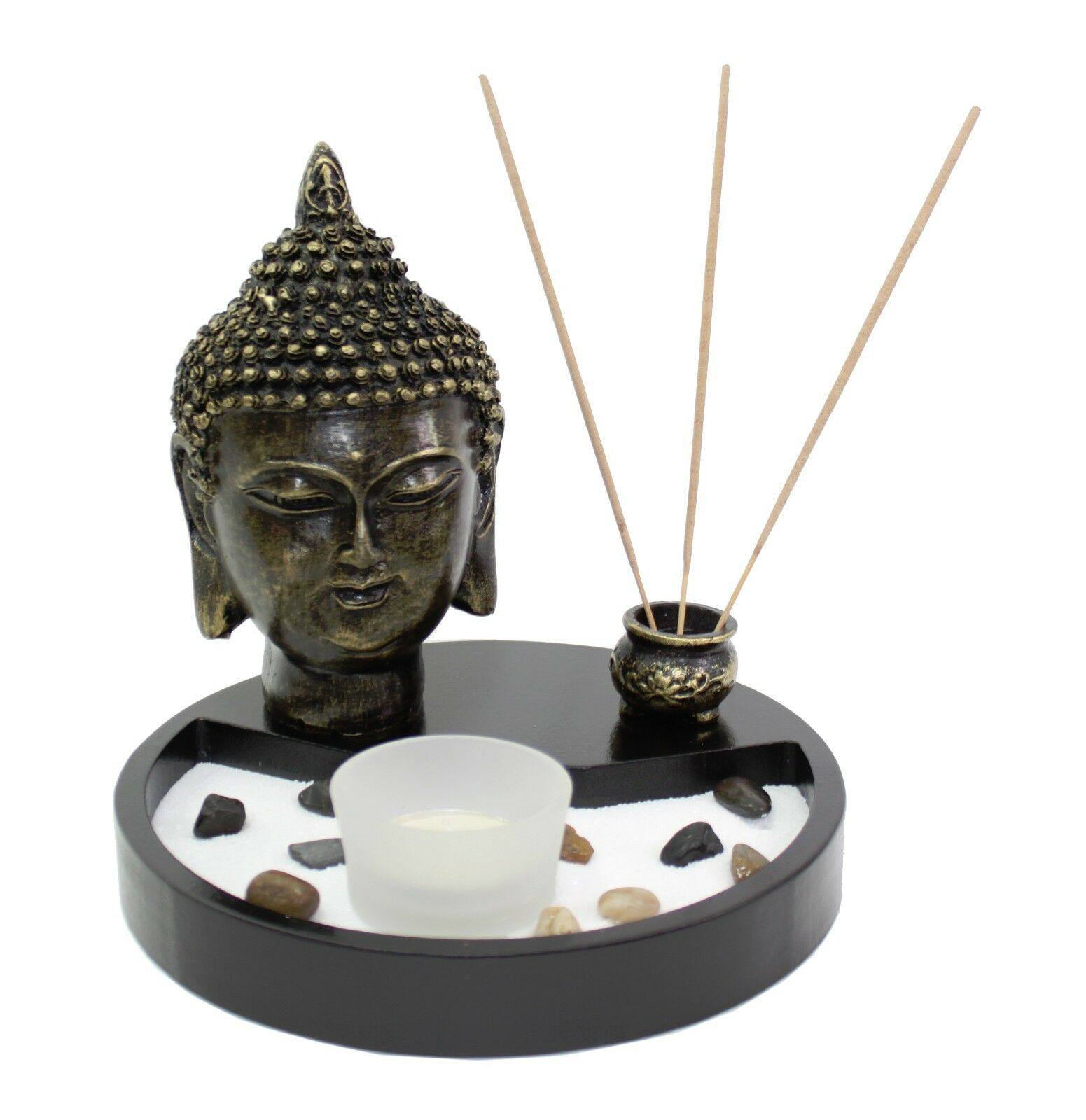 Tabletop zen garden buddha head rock candle holder incense for Buddha decorations for the home uk