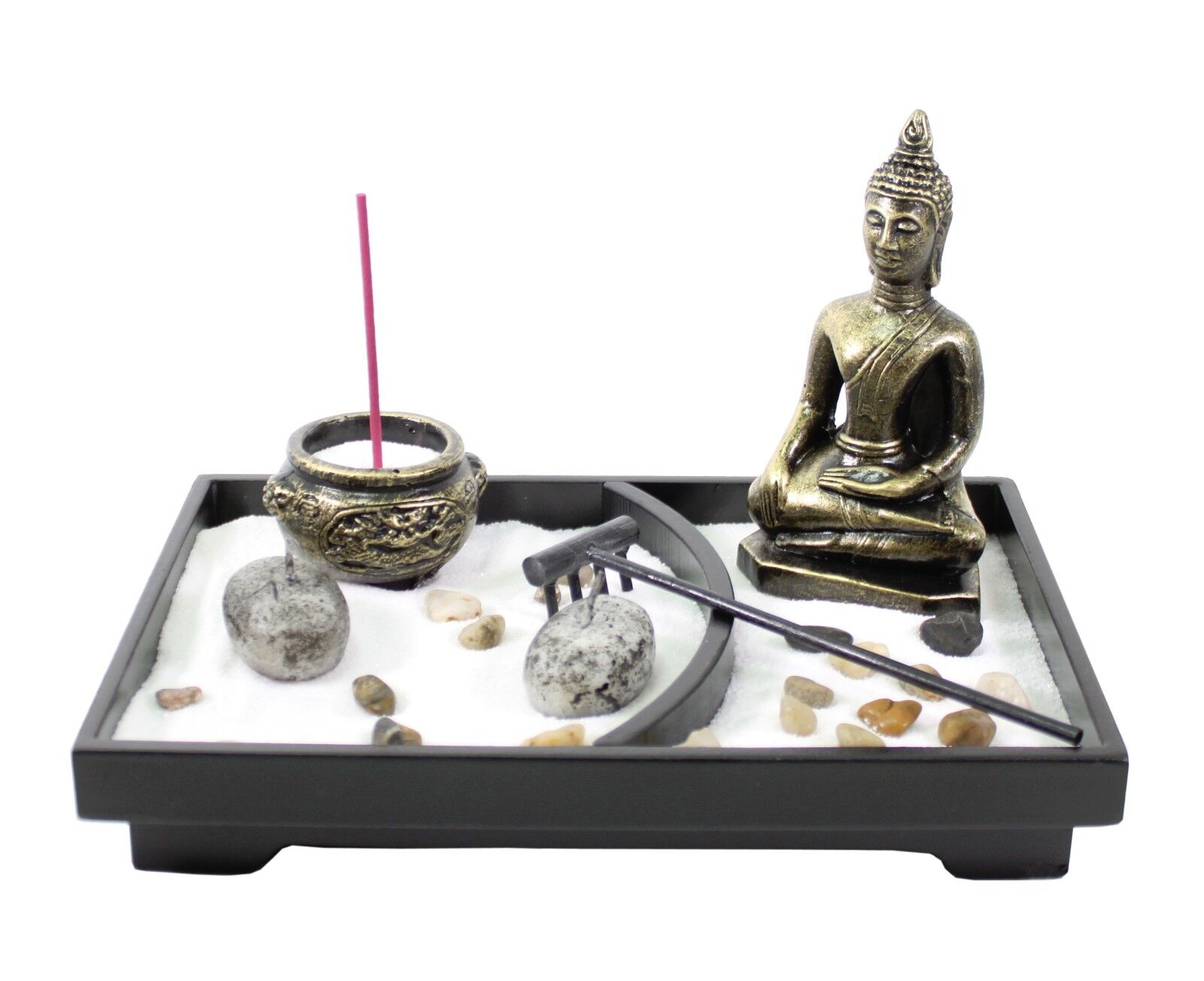 Tabletop zen garden buddha rock rake sand candle incense for Table zen garden