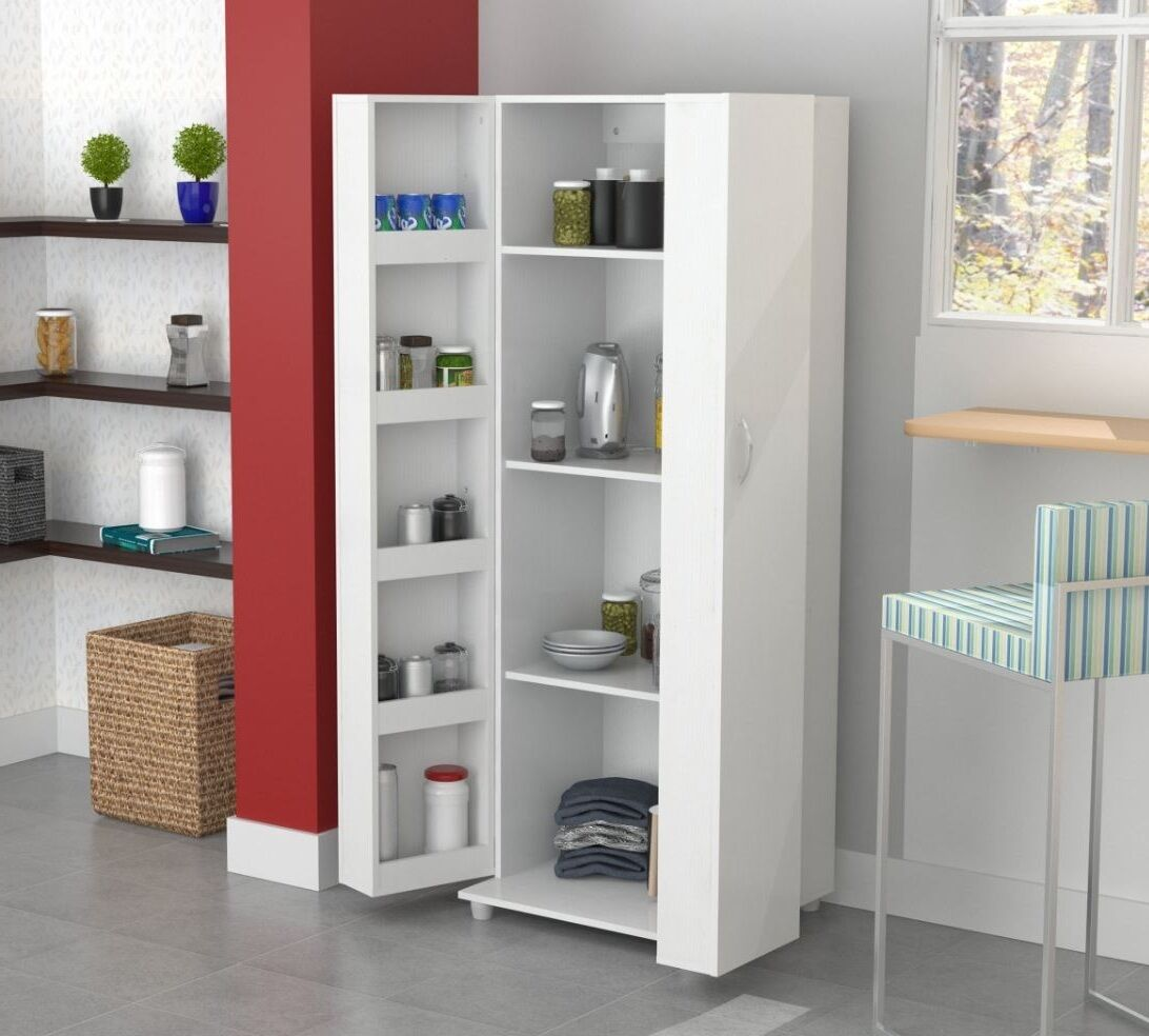 Tall kitchen cabinet storage white food pantry shelf cupboard wood organizer ebay - Bathroom pantry cabinets ...