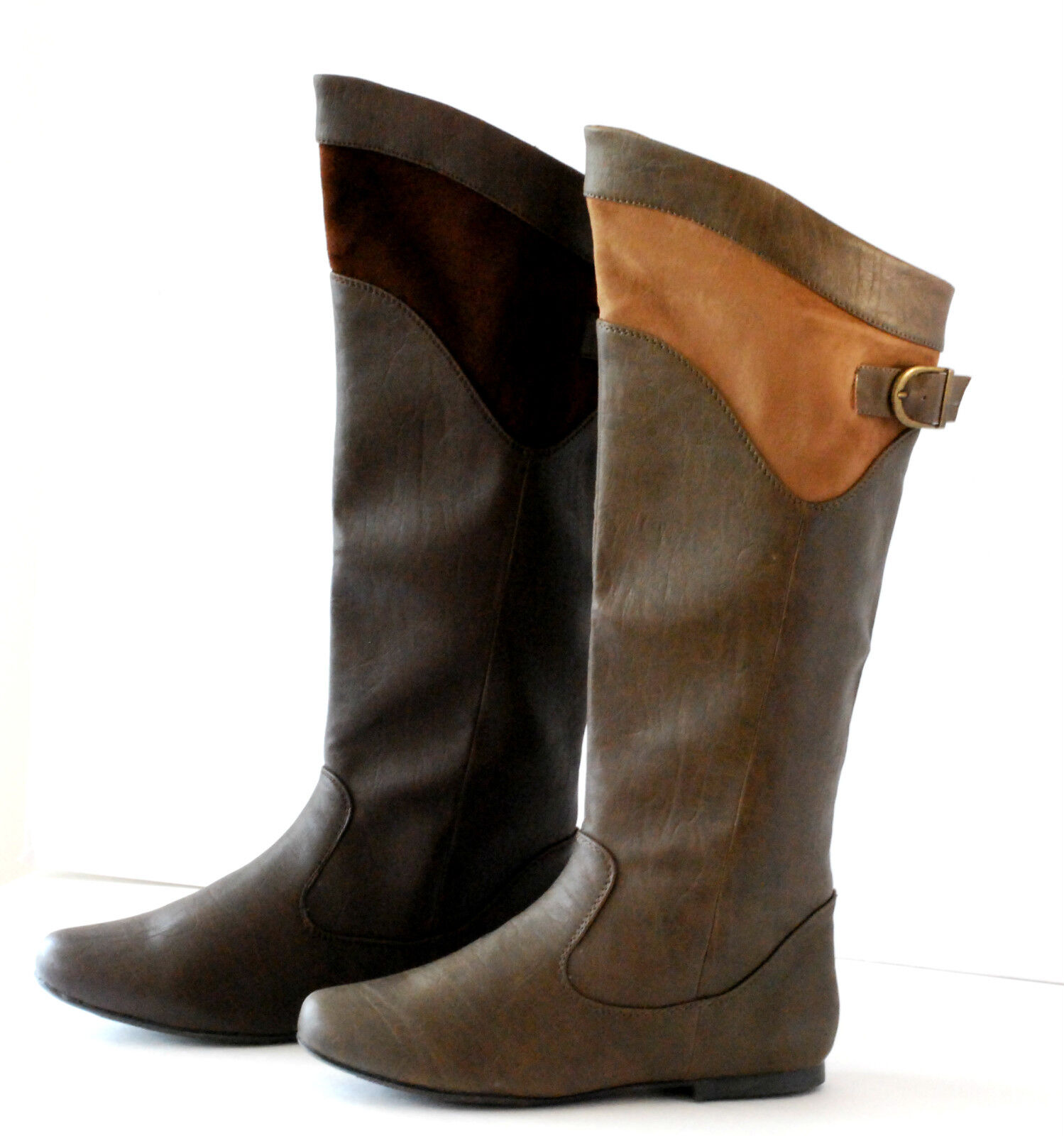 knee high boots low flat heel fux leather buckle