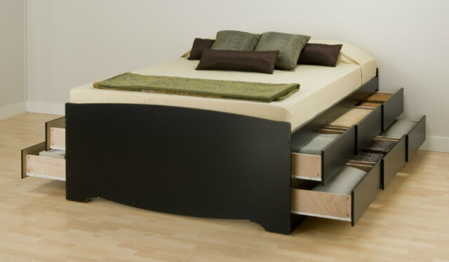 Tall Queen Captain's Platform Storage Bed with 12 Drawers