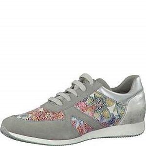 tamaris sneaker halbschuh turnschuh neu metallictrend blumen silber grau flower ebay. Black Bedroom Furniture Sets. Home Design Ideas