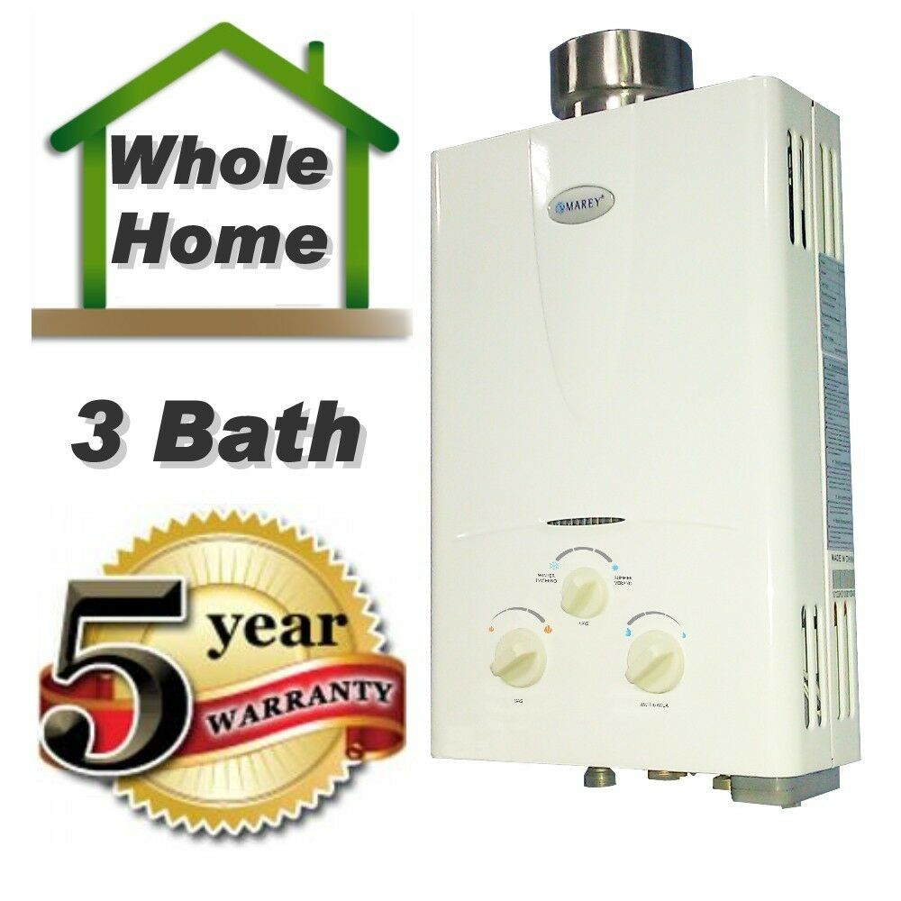 Tankless hot water heater 3 1 gpm natural gas 3 bath whole house marey for Tankless water heater for bathroom
