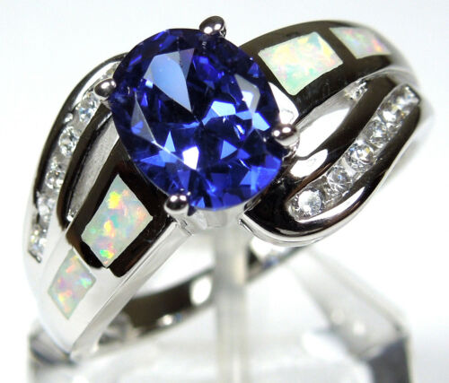 Tanzanite & White Fire Opal Inlay Solid 925 Sterling Silver Ring size 7 or 9 in Jewelry & Watches, Fine Jewelry, Fine Rings | eBay