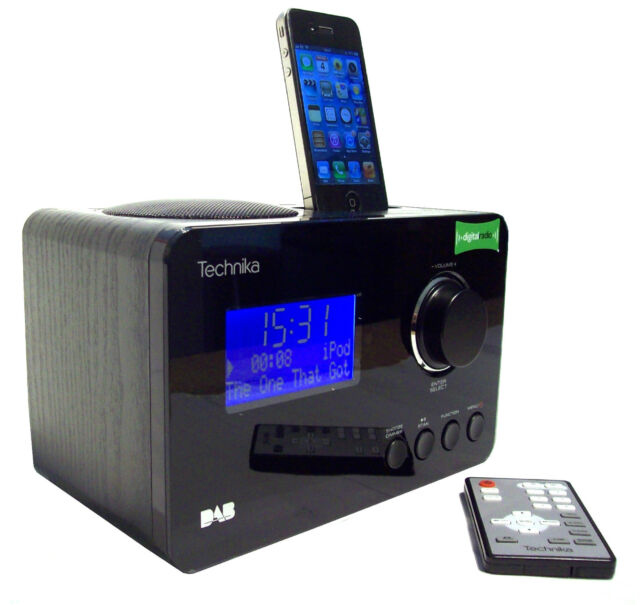 technika dab radio with docking station for ipod iphone dual alarm clock ebay. Black Bedroom Furniture Sets. Home Design Ideas