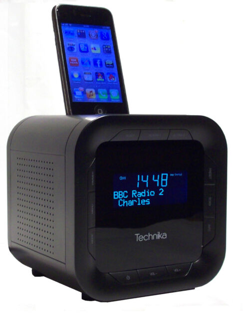technika dab124v alarm clock dab radio with docking station for ipod iphone. Black Bedroom Furniture Sets. Home Design Ideas