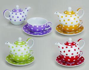 teekanne tea for one als set ca 350 400 ml mit punkten in 4 farben ebay. Black Bedroom Furniture Sets. Home Design Ideas