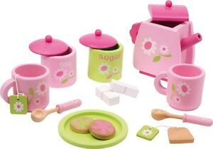 Teeservice rosa fur kinder holz geschirr set kuche 17 tlg for Geschirr für spielküche