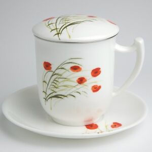 teetasse mit sieb und deckel caprice mohn bone china porzellan ebay. Black Bedroom Furniture Sets. Home Design Ideas