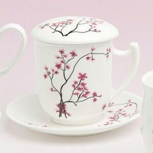 teetasse mit sieb und deckel cherry blossom bone china porzellan ebay. Black Bedroom Furniture Sets. Home Design Ideas