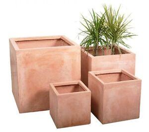 terracotta fibrecotta outdoor garden planter flower plant pot cubes 2 x h25cm ebay