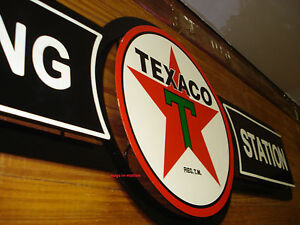 Metal Gas And Oil Signs http://www.ebay.com/itm/Texaco-Filling-Station-Gas-Oil-DOUBLE-LAYERED-METAL-SIGN-SHIPS-WORLDWIDE-/190859931987