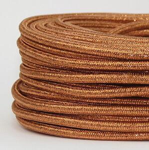 textilkabel stoffkabel lampen kabel kupfer metallic 3 adrig stromkabel elektro ebay. Black Bedroom Furniture Sets. Home Design Ideas