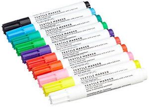 Textilstifte-10er-Set-Beleduc-Stoffmalstifte-Textilmarker-Stoffmarker-malen-NEU