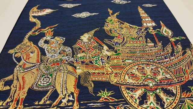 Thai Art Silk Paintings Handmade Ramayana Multicolor