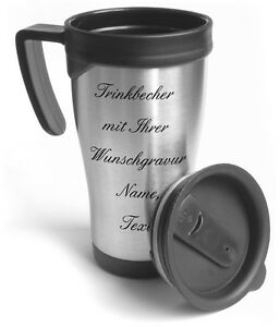 thermobecher kaffee trinkbecher auto mit gravur edelstahl trinkbecher ebay. Black Bedroom Furniture Sets. Home Design Ideas