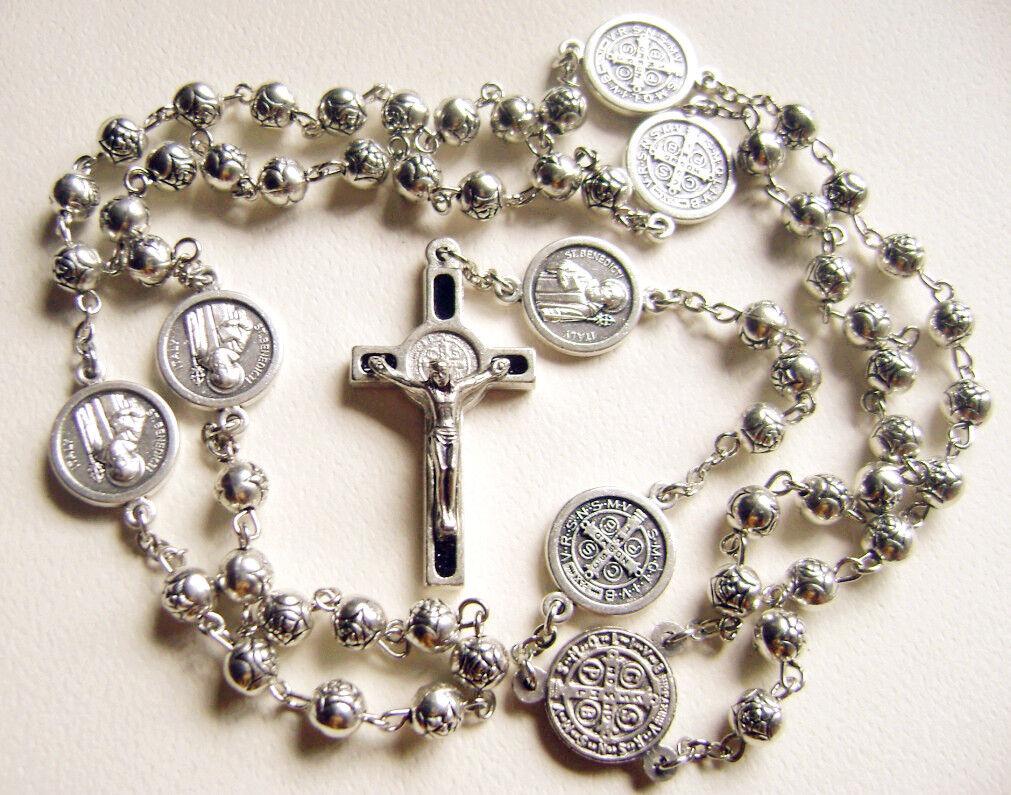 Tibet Silver Rose Flower Beads St Benedict Medal Rosary