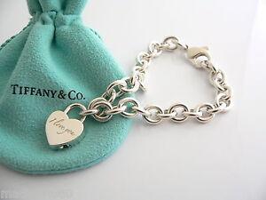 Tiffany Heart Bracelet >> Tiffany Amp Co Silver I Love You Heart Padlock Charm Link Bracelet Bangle RARE   eBay