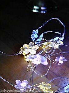 timer led lichterkette bl ten bunt blumen batterie dekoration pastell draht ebay. Black Bedroom Furniture Sets. Home Design Ideas
