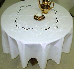 Tischdecke-Tischtuch-rund-130cm-Stickerei-Richelieu-weiss-Baumwolle-festlich