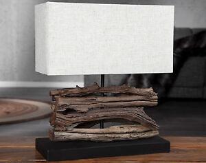 tischlampe lampe aus holz holzlampe tischleuchte treibholz 40cm hoch massivholz ebay. Black Bedroom Furniture Sets. Home Design Ideas