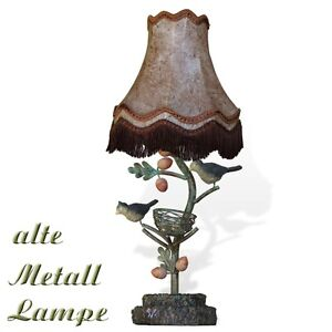 tischlampe v gel bl tter metall vintage lampe mit lampenschirm alter leuchter ebay. Black Bedroom Furniture Sets. Home Design Ideas