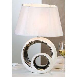 tischleuchte 39 circles 39 keramik wei silber skulptur deko. Black Bedroom Furniture Sets. Home Design Ideas