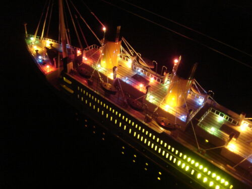 "Titanic wooden model cruise ship w/ flashing light 40"" in Antiques, Maritime, Model Ships 