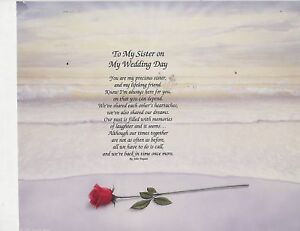 To My Sister On My Wedding Day Poem Personalized Name