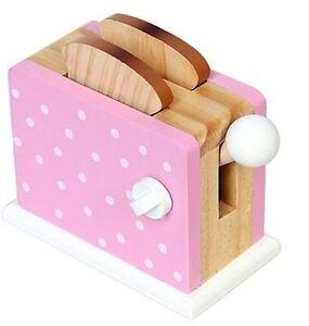 toaster mechanisch f r kinder holz spieltoaster spielk che pink wei e punkte ebay. Black Bedroom Furniture Sets. Home Design Ideas