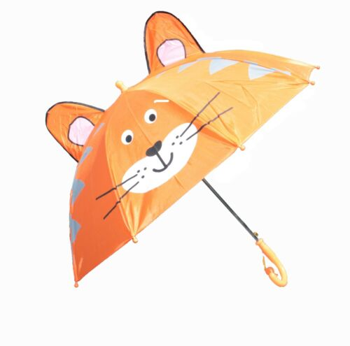 Pop-up Cartoon Umbrella Come with Whistle Cat Toddler Kids Boys//Girls Cute Zoo